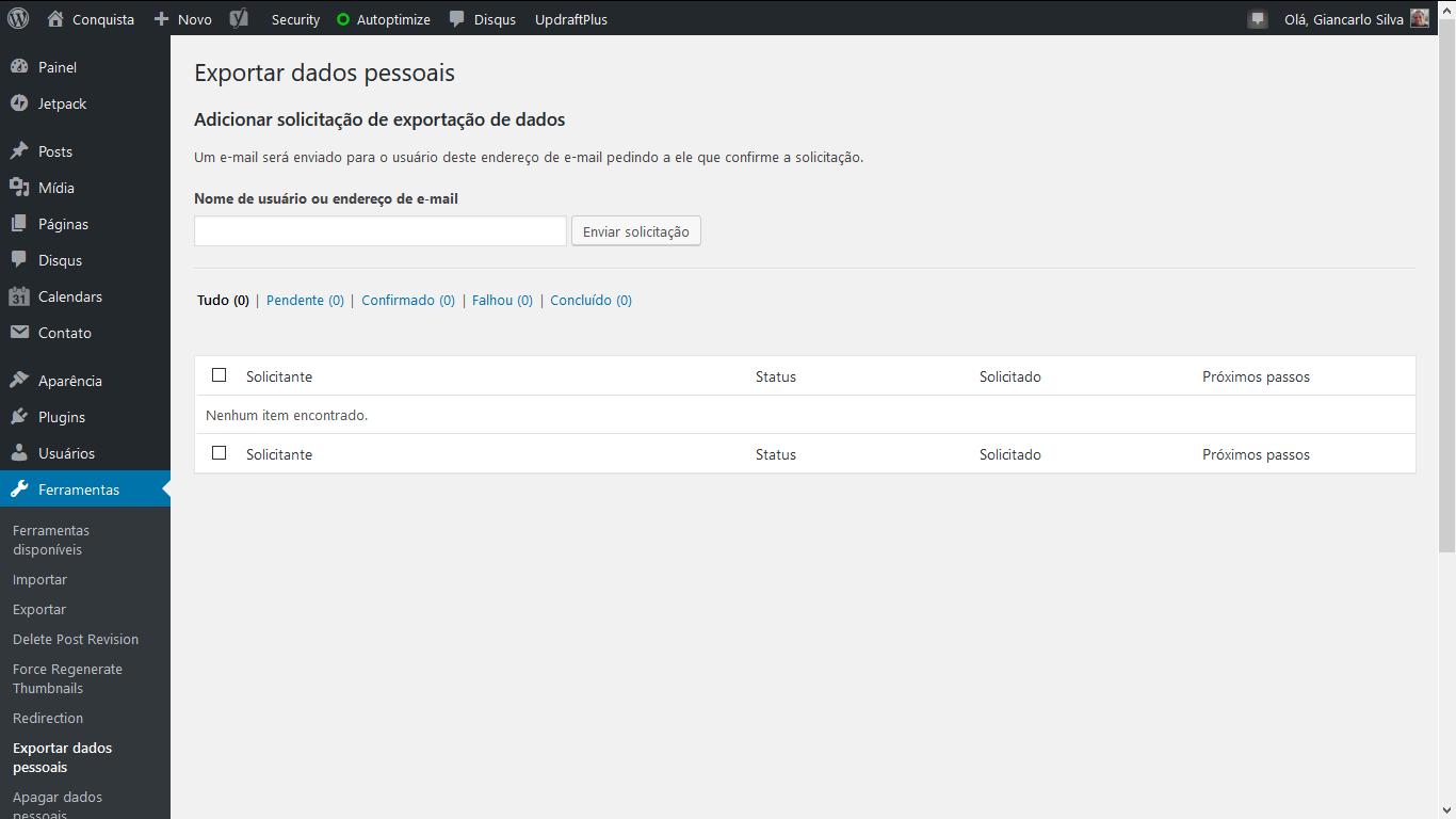 Tela para exportação de dados pessoais de um usuário.