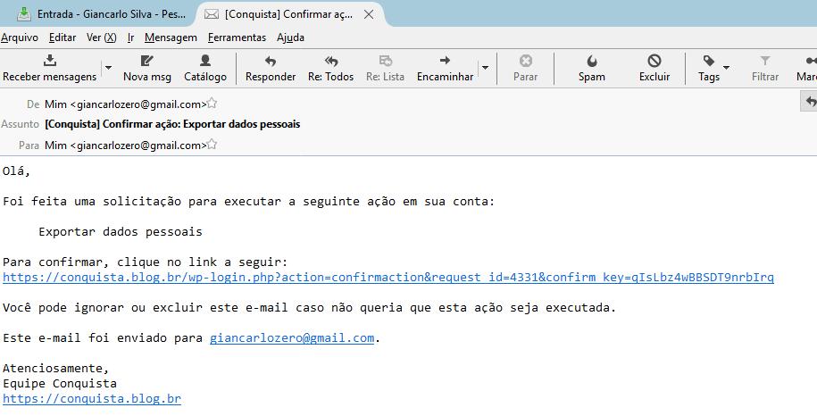 Mensagem de confirmação enviada a um usuário.