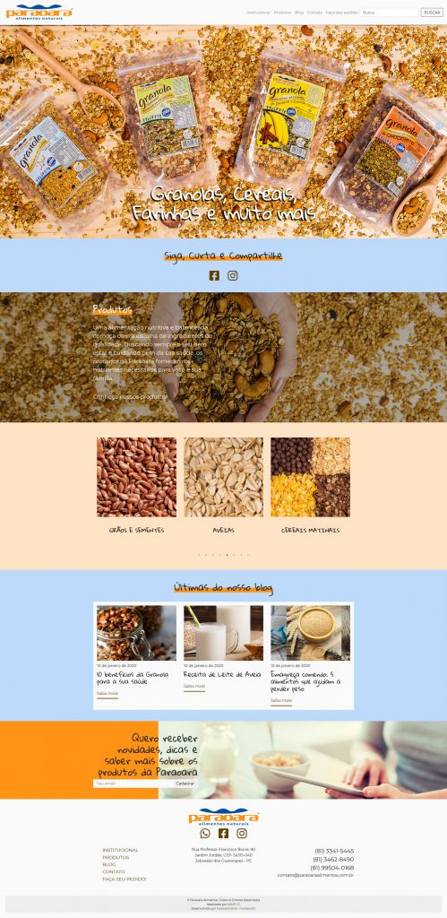 Paraoara Alimentos Naturais - Página inicial