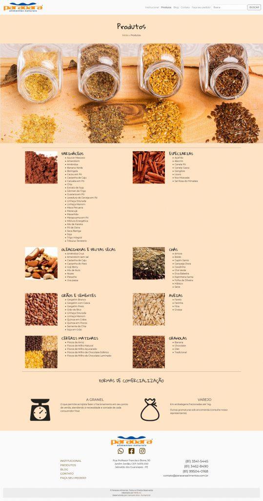 Paraoara Alimentos Naturais - Produtos